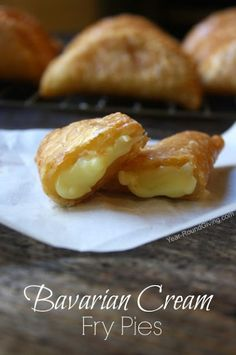 Amish style fry pies. Fill pies with any filling you want like cherry or apple pie filling. These are filled with Bavarian cream.