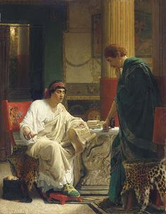 Lawrence Alma-Tadema - Vespasian hearing from one of his generals of the taking of Jerusalem by Titus