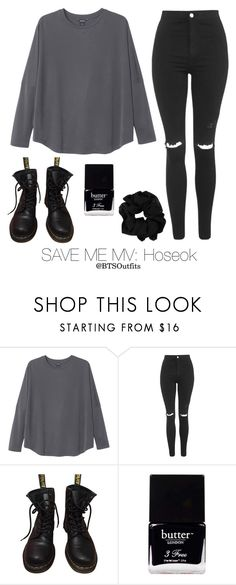"""Save Me MV: Hoseok"" by btsoutfits ❤ liked on Polyvore featuring Monki, Topshop, Dr. Martens and Butter London"