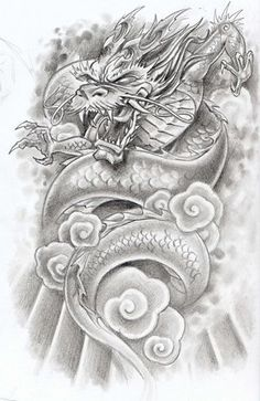 Unique Grey Ink Dragon Tattoo Design For Men and information related to it.