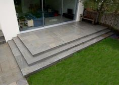 """See our internet site for additional relevant information on """"patio pavers diy"""". It is a superb location to get more information. Patio Steps, Garden Steps, Pool Steps, Grey Paving, Sandstone Paving, Patio Deck Designs, Patio Design, Front Door Steps, Back Garden Design"""