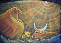 Waldorf ~ 4th grade ~ Human & Animal ~ Eagle and Bull http://www.waldorf-ideen-pool.de/index.php?aid=1517 ~ What needs to change to the cow, so that it is an eagle? http://www.waldorf-ideen-pool.de/index.php?aid=886