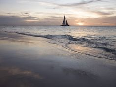 Catamaran at Sunset Seen from Bucuti Beach Resort on Eagle Beach Photographic Print at AllPosters.com