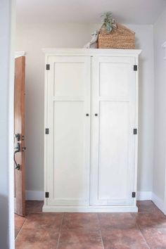 See how you can transform your entry way with hiding a cute mudroom setup inside an armoire! Free plans for a DIY mudroom in an armoire! Diy Storage Cabinets, Tall Cabinet Storage, Locker Storage, Bench Storage, Linen Cabinet, Bedroom Storage, Storage Shelves, Furniture Plans, Diy Furniture