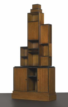 "PAUL T. FRANKL ""SKYSCRAPER"" BOOKCASE FROM THE LIBRARY OF LUCILE LAYTON ZINMAN AND M. BOYD ZINMAN, 1200 FIFTH AVENUE, NEW YORK circa 1927"