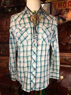 Vintage Lee Western Wear Green Plaid Pearl Snap by TheMaineVintage