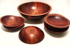 Baribocraft 11 Inch Wooden Salad Bowl and 6 Side Bowls 6.5 Inches Made in Canada