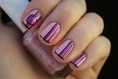 striped nails with glitter Easy Nail designs for short nails