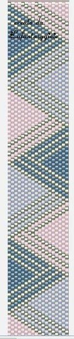 The peyote Lufantasygioie: free pattern download - uses 4 colors: DB-035 Metallic Silver, DB-080 Lined Pale Lavender AB, DB-082 Lined Light Pink AB, DB-086 Lined Dark Blue AB