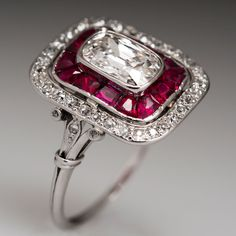 Authentic Art Deco Heirloom Diamond Ring 1920's Solid Platinum Engagement #SolitairewithAccents