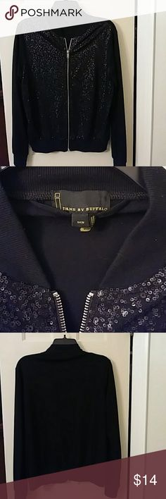 i jeans by Buffalo Zip Front Sequin Jacket Super cute sequin jacket.  68% polyester, 28% viscose, 4% spandex.  Sequins are on front of jacket only.  Never worn. Size small but runs a little big, fit is more like a medium. i jeans by Buffalo Jackets & Coats