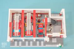 Ground Floor of the Classic LEGO Fire Station MOC with 3 Garage Bays