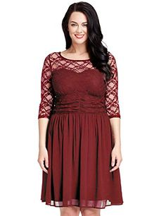 LookbookStore Womens Plus Size Lace Top Chiffon Skirt Aline Skater Formal Dress Burgandy 18W ** You can get additional details at the image link.