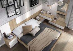 cama matrimonio flotante cabecero mesitas blanco asimetrico 015OR0012 Luxury Bedroom Design, Bedroom Closet Design, Home Decor Bedroom, Interior Design, Bed Furniture, Furniture Design, Guest Bedrooms, Luxurious Bedrooms, Room Set