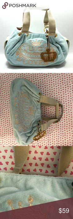 Juicy Couture baby blue terry Rothchild handbag A few minor marks, used only around 4 times. Marks on the bottom, all wear is pictured! Otherwise perfect condition with tons of life left! 🌼Thank you for looking!  🌼I ship within 2 days shipping excluding holidays 🌼I do not trade! 🌼I only accept offers through the offer button! 🌼Thank you for shopping and feel free to ask any questions! 🚭Smoke free home! Juicy Couture Bags Satchels