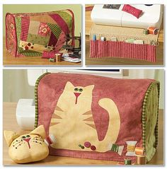 CAT Sewing Machine Cover Pattern - Cats Covers Pin Cushion Organizer via Etsy