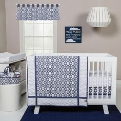 The Hexagon Collection by Trend Lab gives your nursery a sophisticated modern look! The eye-catching geometric hexagon tile pattern is framed by diamonds and mini dots, emphasized in a gorgeous navy blue and white. The mix of contemporary patterns in neutral navy blue make this collection versatile for decorating and a perfect accent for your little one's nursery! Set includes: Quilt, Crib Skirt and Fitted Crib Sheet. Reversible 100% cotton Quilt measures 35 inch x 45 inch and features na...