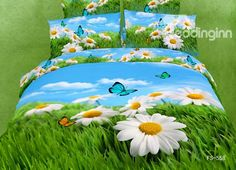 White Cosmos and Butterfly with Grass Print 4 Piece Bedding Sets/Duvet Cover Sets – toptrendpin.