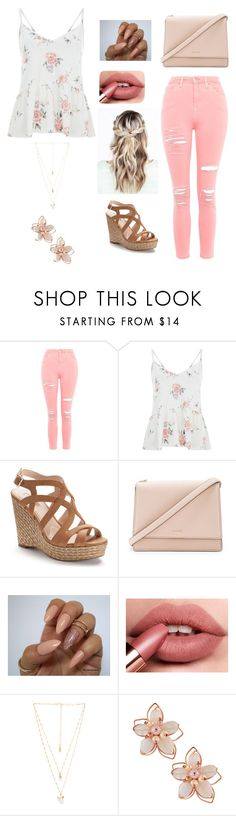 """""""Peachy Pink."""" by karamarie-y ❤ liked on Polyvore featuring Topshop, Jennifer Lopez, Kate Spade, Natalie B and NAKAMOL"""