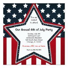 4th of July 5.25x5.25 Square Paper Invitation Card