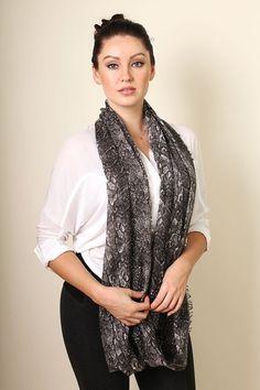 Women's Python Snake Print Grey Brown Infinity Scarf, Fashion Loop Shawl at Amazon Women's Clothing store:
