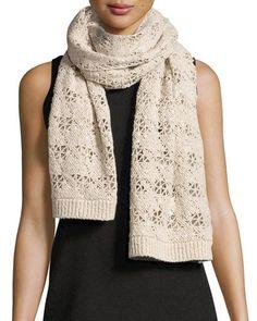 Brunello+Cucinelli+Sequined+Crochet+Cashmere+Blend+Scarf+Grain+|+Neckwear+and+Accessory