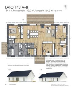 KANNUSTALO - Virtuaaliesitteet - LATO Bungalow House Plans, Dream House Plans, House Floor Plans, Architectural House Plans, Grey Houses, Metal Buildings, Minimalist Home, Future House, Planer