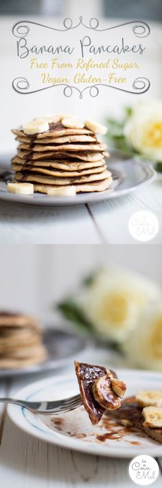 Banana Pancakes - Free From Refined Sugar, Vegan, Gluten-Free - Le Coin De Mel - These fluffy American Pancakes, or Banana Pancakes, are are full of flavours and easy to make. Homemade Pancakes, Vegan Pancakes, Banana Pancakes, Pancakes And Waffles, Vegan Gluten Free, Gluten Free Recipes, Dairy Free, Vegan Recipes, Easy Recipes