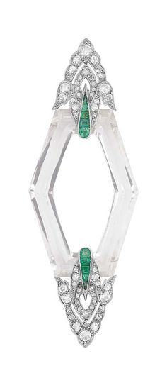 Art Deco Platinum, Rock Crystal, Diamond & Emerald Brooch
