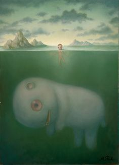 """Leviathan"" by Marion Peck, an amazing surrealist artist that I have loved for sometime. You will see several of her pieces on this board."