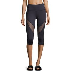 Varley Wharf 3/4 Crop Sport Leggings w/Mesh Inset ($100) ❤ liked on Polyvore featuring activewear, activewear pants, navy, varley and sports activewear