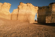 Keyhole Rock, one of the Monument Rocks: West of Castle Rock area in Gove County, Kansas, erosion has carved these chalk pyramids from what was once the floor of a vast inland sea. Also called Monument Rocks this site is the first natural landmark chosen by the US Dept. of the Interior as a National Natural Landmark