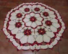 tapetes de barbante redondo com flores