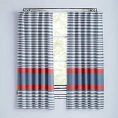 """63"""" Red Fine Lines Curtain"""