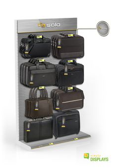 Outdoors and Luggage Display, Gondola wall buildout with pegboard graphic covering Bag Display, Display Design, Store Design, Outdoor Gear Stores, Backpack Store, Luggage Shop, Retail Shelving, Point Of Purchase, Stationery Store