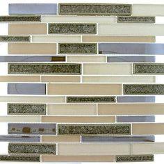 Bella Muro Series BMS-244 HARBOUR BEIGE.  A mix of crackle glass tiles with solid color tiles for a unique mosaic.