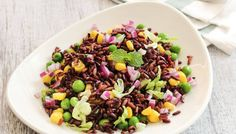 Black rice is known for umpteen health benefits. Try this nutritious black rice salad recipe which is easy to prepare, healthy, and flavourful too. Rice Salad Recipes, Healthy Salad Recipes, Black Rice Benefits, Black Rice Salad, Longest Recipe, Organic Recipes, Easy Recipes, Food Videos, Love Food
