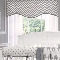 We are LOVING this Gray Chevron Window Treatment for the nursery.