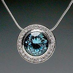 Bezel Set Natural Aquamarine and Diamond Pendant Necklace