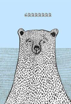 Grumpy bear medium print of original illustration of by Pizublic