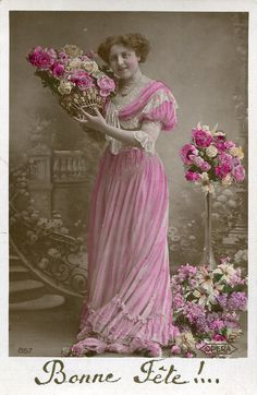 Original French vintage hand tinted real photo postcard - Lady in pink dress with roses - Victorian Paper Ephemera