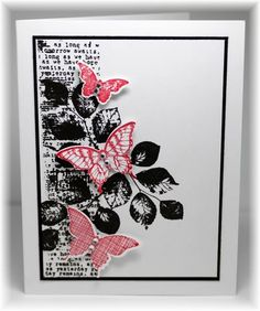 Scrappin' and Stampin' in GJ: The card - I used an old script background stamp down the side and then stamped the leaves (from SU) over the top. The butterflies (also from SU) were stamped, punched out and popped up on top. Colors are black, white and real red.