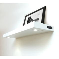 Lewis Hyman Wall Mounted White Floating Shelf with 2-LED Lights | Overstock.com Shopping - The Best Deals on Accent Pieces