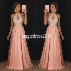 Gorgeous Pink Chiffon Prom Dresses A-Line Halter Major Beaded Ruffled Pleated Evening Formal Gowns Long Chiffon Dress for Party Wear - Best Tutorial and Ideas Cute Prom Dresses, Prom Dresses With Sleeves, Plus Size Prom Dresses, Prom Dresses For Sale, Grad Dresses, Trendy Dresses, Cheap Dresses, Homecoming Dresses, Dress Outfits