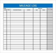 free printable mileage log four columns printables pinterest