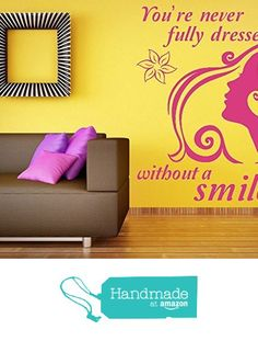 'You're Never Fully Dressed Without a Smile' Quote, Annie Movie Quote, Vinyl Wall Art Sticker. Mural, Decal. Home, Wall Decor. Bedroom, Dressing Room, Bathroom, Living Room from Fabulous Wall Art Stickers https://www.amazon.co.uk/dp/B01MUCT2O7/ref=hnd_sw_r_pi_dp_.lLGybMDTJ7JS #handmadeatamazon