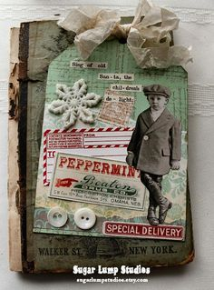 Special Delivery Christmas Boy Large Collage Tag 4 inches wide
