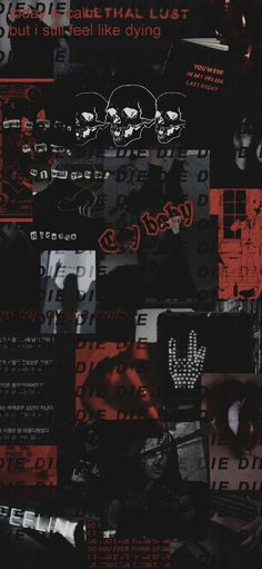 black and Red collage wallpaper