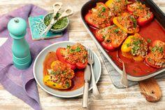 Papryka faszerowana mięsem i kaszą Vegan Ramen, Ramen Noodles, Bruschetta, Curry, Ethnic Recipes, Food, Projects, Curries, Essen