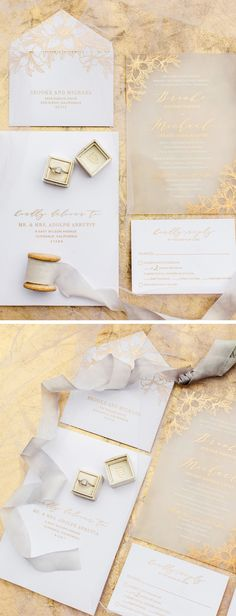 Gold Acrylic Wedding Invitation with Romantic Floral Design by @pennandpaperie